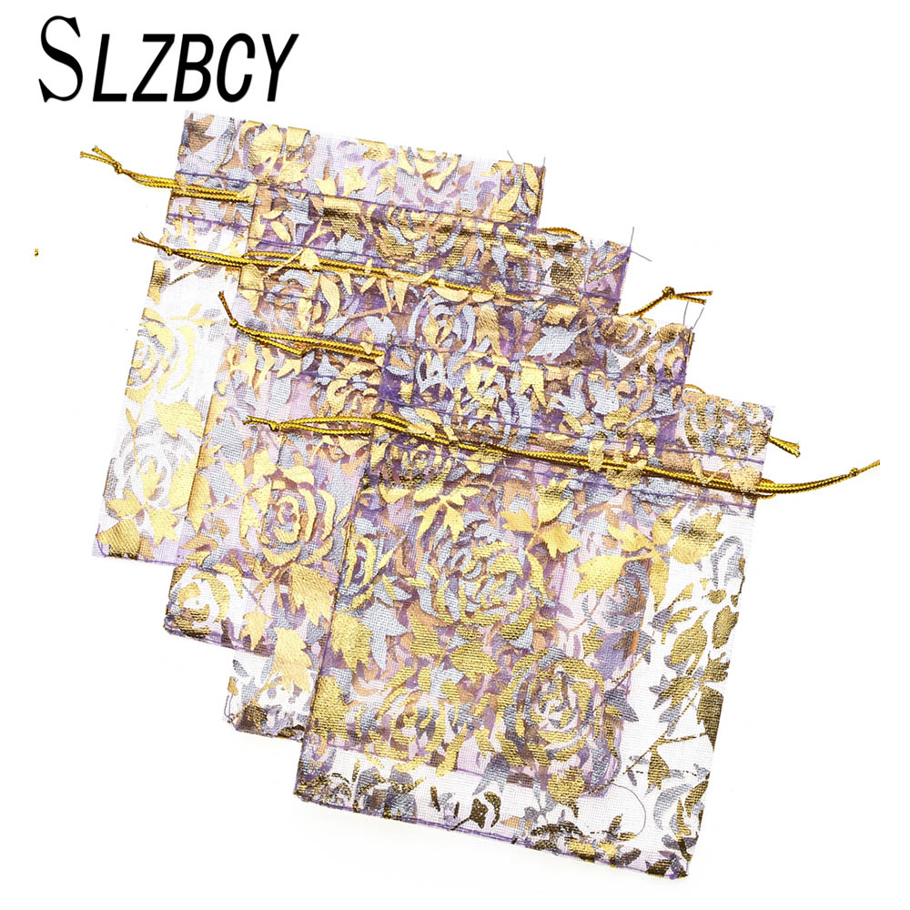 SLZBCY 50pcs/lot Wholesale Gold Color Drawable Organza Bag Jewelry Packaging Pouches Wedding Gift Bags 7x9 10x12 13x18 17x23 Cm