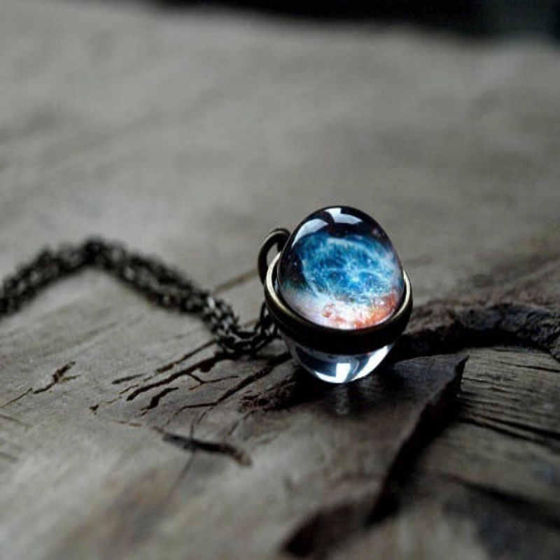 Romantic Starry Sky Pendant Valentine's Day Universe Necklace Gifts Double-sided Transparent Glass Ball Pendant Birthday Gifts