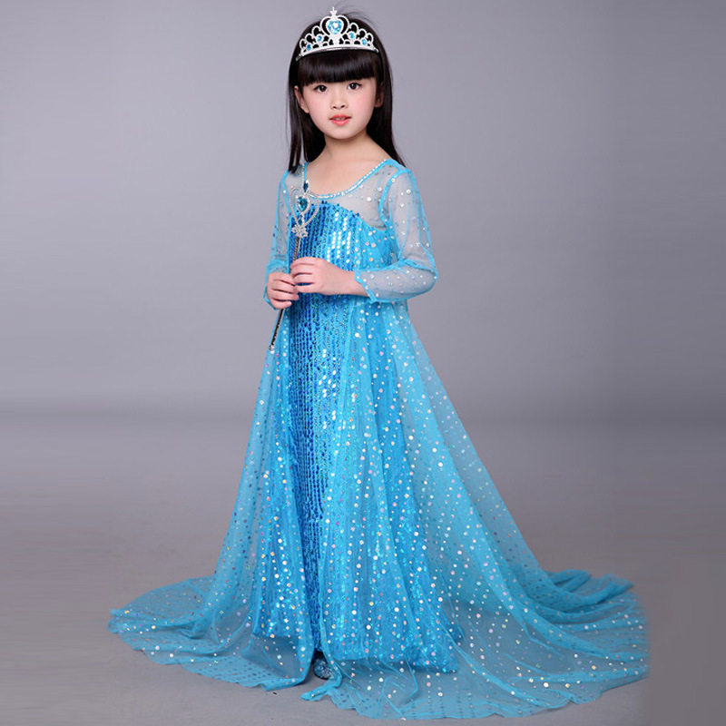Free shipping New style 2018 Frozen sequins Elsa children's princess summer dress girl's birthday party dress Halloween costume