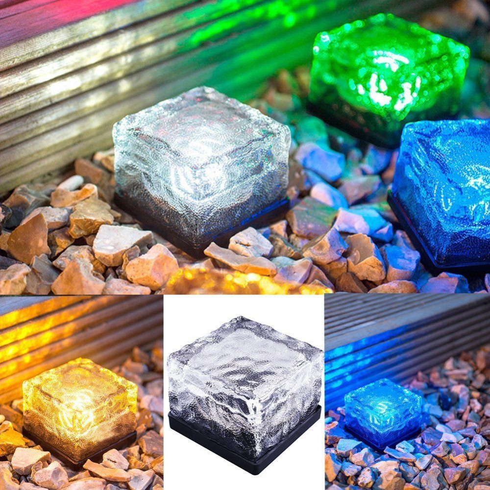 Solar Power LED Light Outdoor Waterproof Ground Crystal Glass Ice Brick Lawn Yard Deck Road Path