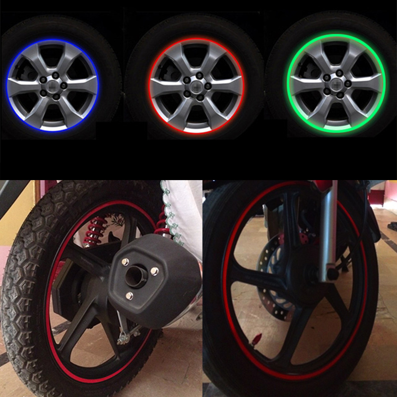 Car/Moto Auto Motorcycle Wheel Hub Tire Sticker Decorative Strip Wheel Reflective Rim Tire Protection Care Covers Bike