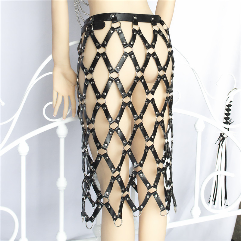 women's high street chic all-match adjustable sexy style pu leather weaved chained skirt shaped fashion body harness belts