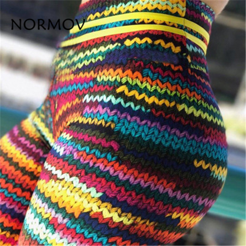 NORMOV Fitness Print Women   Leggings   Casual Sexy High Waist Printed Stitching   Leggings   Polyester Large Size Exercise   Leggings