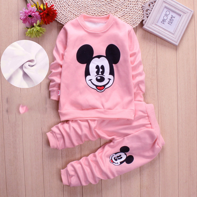 19 new AutumnWinter baby girls clothing sets children velvet warm clothes set kids girls cartoon coats+ pants suits Christmas suit
