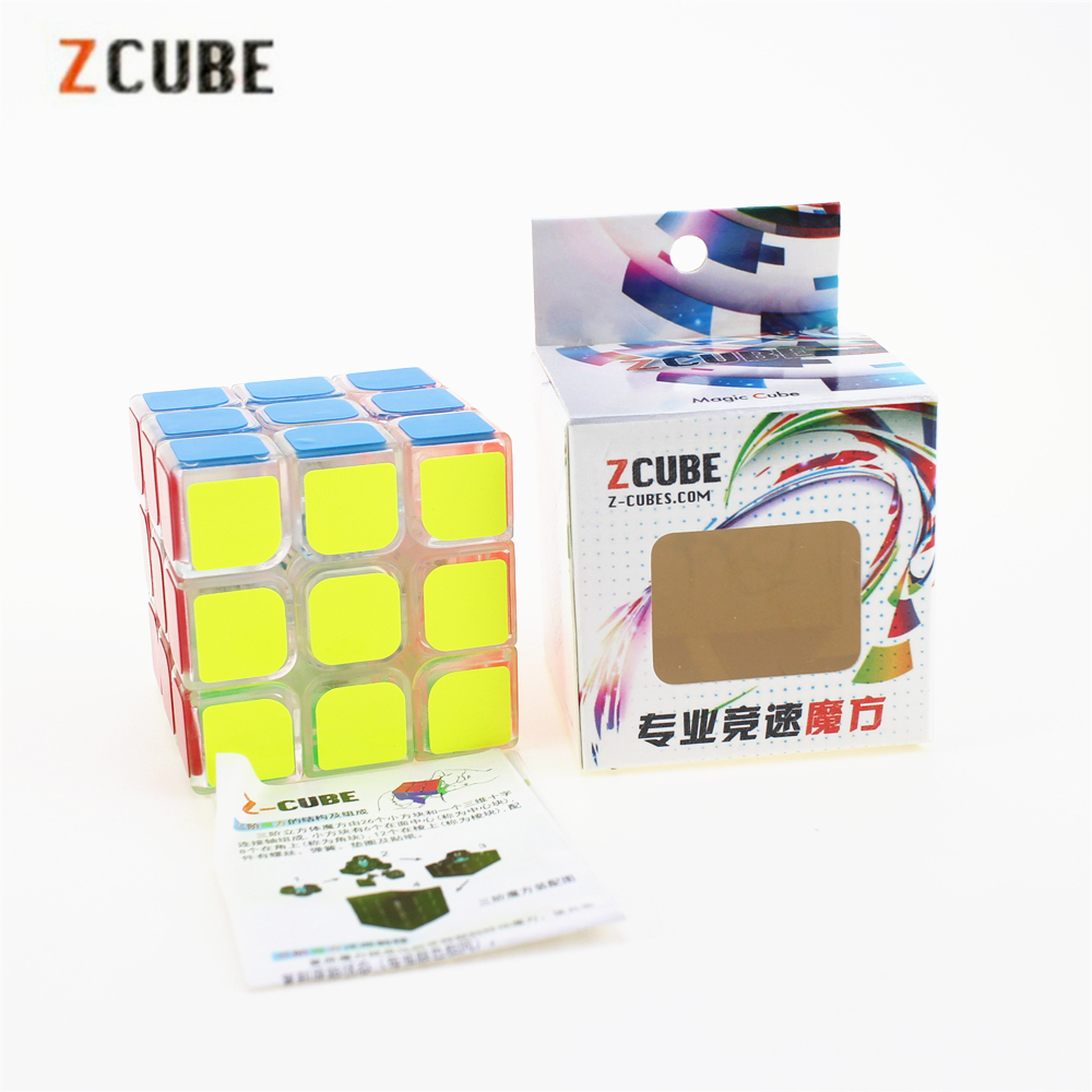 3x3x3 Zcube Transparent Magic Cubes Speed Puzzle Cubes Transparent Cube Smooth Sticker Educational Toys for Children ZC33101
