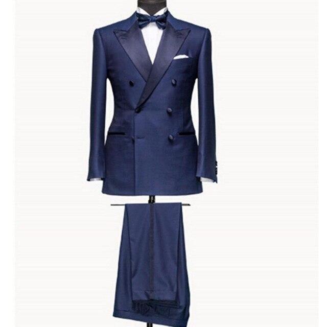 Nuevo Estilo de los hombres trajes de novio trajes de Hombre de Doble Botonadura Azul Marino Traje de Solapa Esmoquin Del Novio de Los Hombres Wedding Prom Trajes (chaqueta + pantalones)