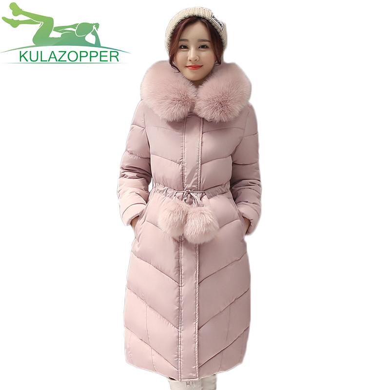 2017 New winter women down cotton coat Long female Slim Hooded outwear Big fur collar plus thick high quality cotton parka LX193 retro with hood korea fashion slim winter coat female outwear down thick warm parka women