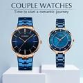 CURREN пара часов для мужчин и женщин модные часы для влюбленных повседневные наручные часы из нержавеющей стали водонепроницаемые часы набор...