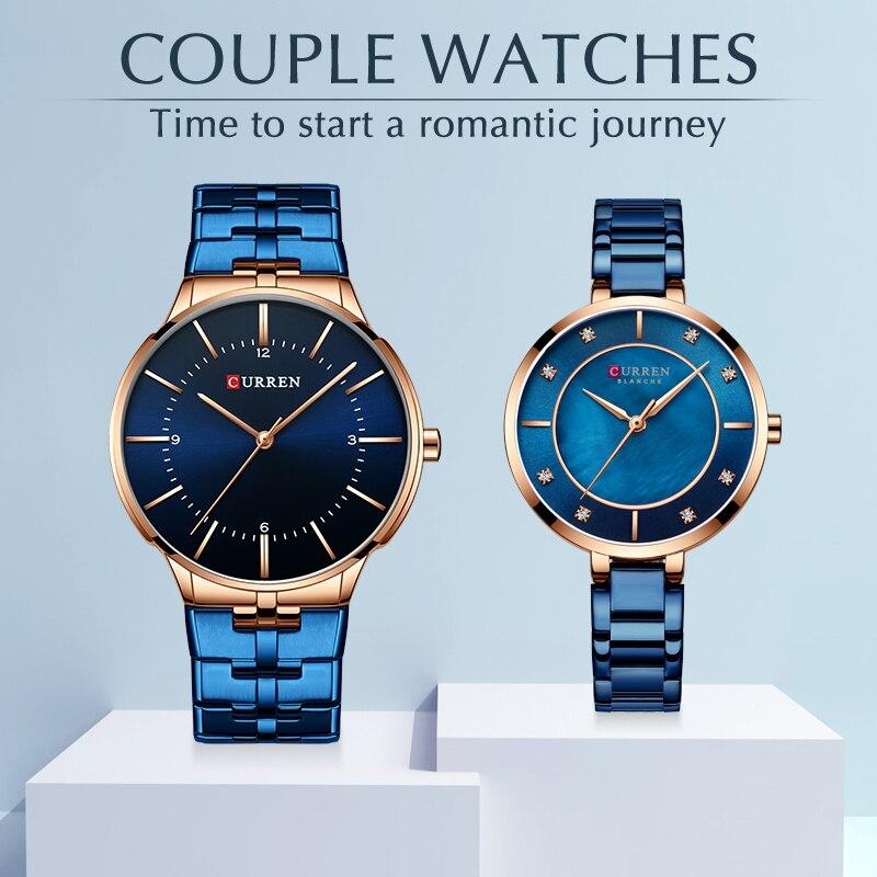 CURREN парные часы для мужчин и женщин модные часы для влюбленных повседневные наручные часы из нержавеющей стали водонепроницаемые часы набо