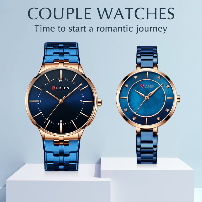 CURREN Couple Watch for Men and Women Fashion Lover's Watches Casual Wrist Watch Stainless Steel Waterproof Clock Set for Sale