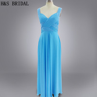 Real Photo 2016 Blue Color Evening Party Long Beading Chiffon Evening Dress Cheap