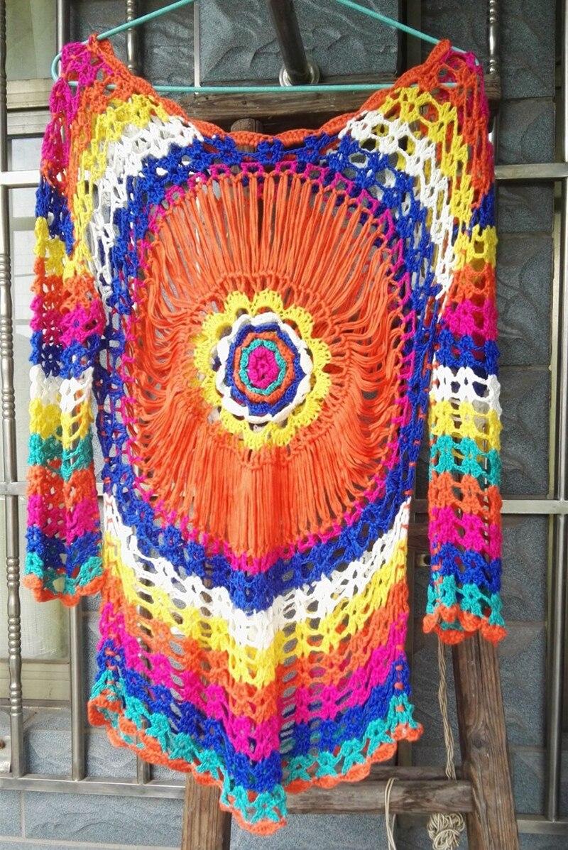 2018 tricoté à La Main sexy évider fleur du soleil plage robe bohème nationale vent de vacances robe chandail 53