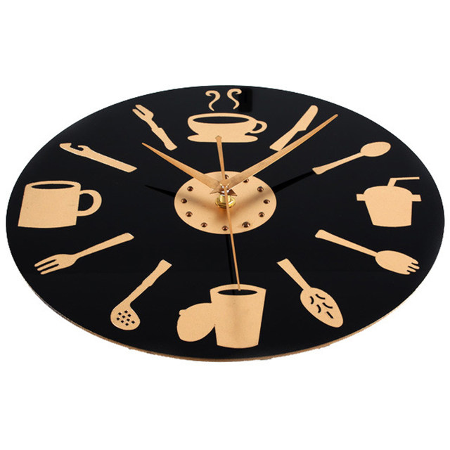 Coffee Time Wall Clock Modern Design Decorative Kitchen Clocks European  Retro Style Art Black U0026 Gold Watch Home Decor 12 Inch