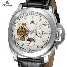 FSG005M3S6 Автоматическая мужские часы с черным кожаный ремешок белый циферблат цвета моды случайные часы подарочная коробка бесплатная доставка