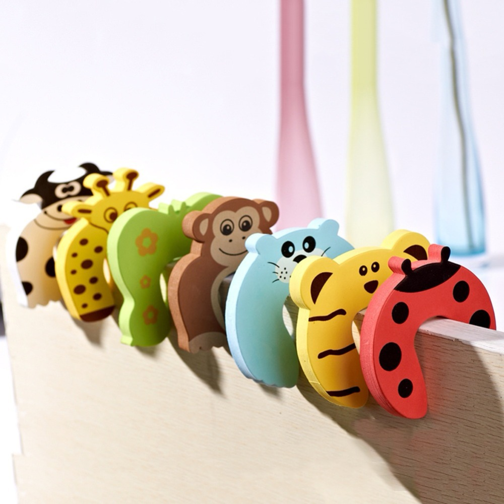 2pcs Child Safety Protection Baby Safety Cute Animal Security Card Door Stopper Baby Newborn Care Child Lock Protection