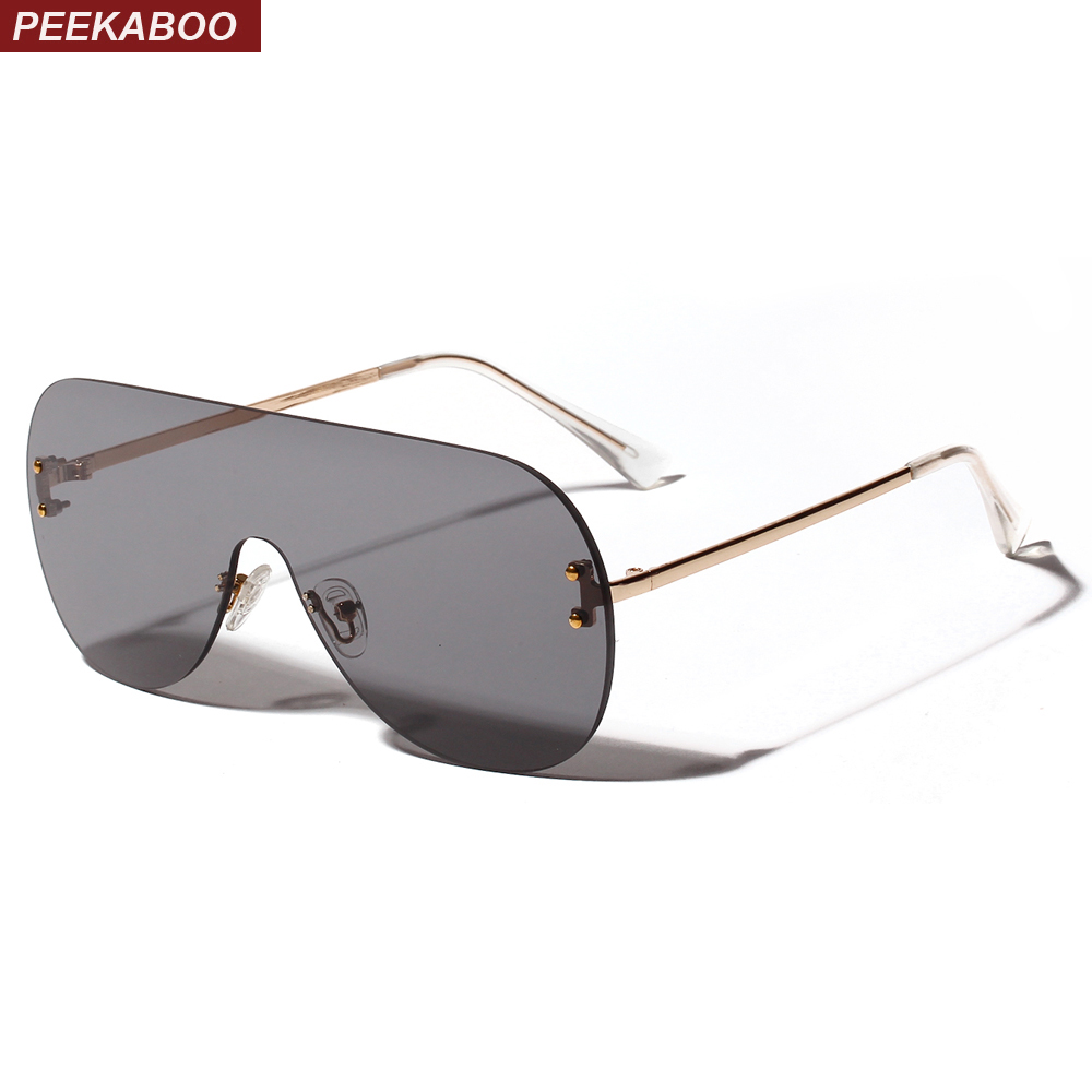 Peekaboo One Piece Sunglasses Women Clear Color 2019 Summer Fashion Rimless Sun Glasses For Men Oversize Metal Uv400 Red Orange
