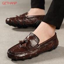 2018 Leather Loafers Mens Casual Borduren Mocassins Oxfords Schoenen Man Party Rijden Flats Zachte Comfortabele Mannelijke Schoenen Volwassen