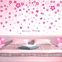 Romantic Pink Flowers Wall Sticker Decor Floral Wallpaper Art Decals Home decorations. Free Shipping