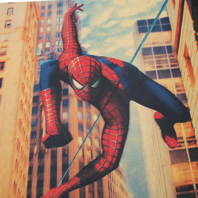 DLKKLB Marvel Super Hero ВИНТАЖНЫЙ ПЛАКАТ Человек-паук Бар Кафе домашний интерьер Настенная Наклейка винтажная декоративная живопись 51,5x35 см