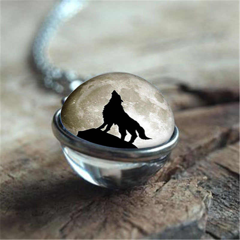 Fashion new accessories double-sided glass ball under the moon wolf time stone pendant necklace sweater chain items hot sale