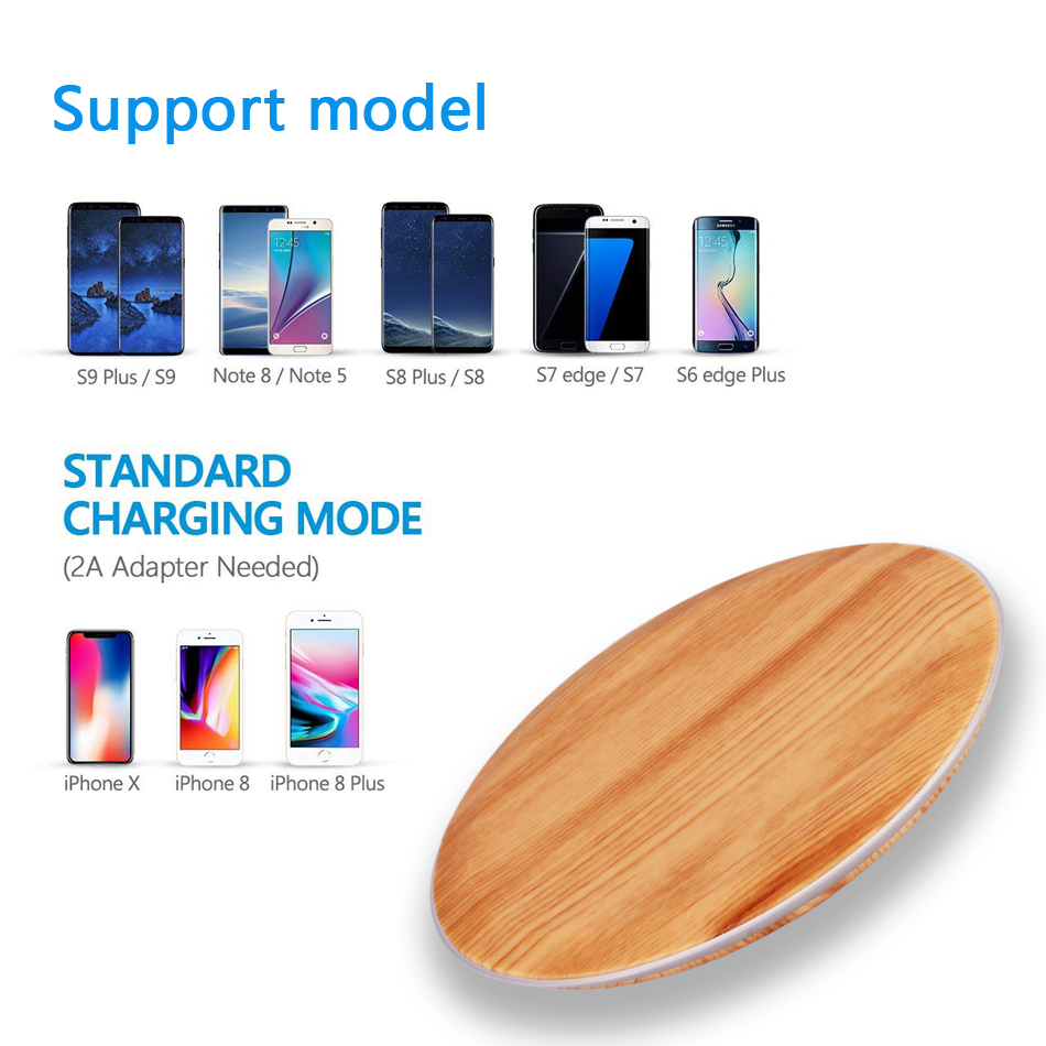 CinkeyPro Wood Wireless Charger Pad with LED Light 5W Charging for iPhone 8 X Samsung XiaoMi Charge Mobile Phone USB QI Device 10