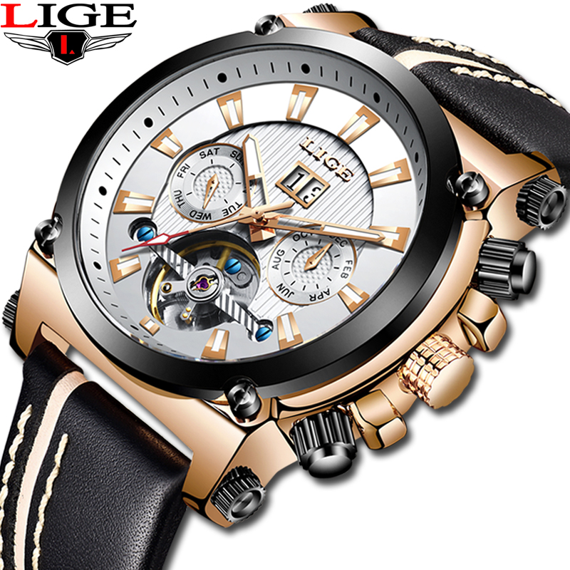 Top Luxury LIGE Openwork Tourbillon Sports Watch Mens Automatic Rose Gold Leather Mechanical Watch Casual Waterproof RelojHombreTop Luxury LIGE Openwork Tourbillon Sports Watch Mens Automatic Rose Gold Leather Mechanical Watch Casual Waterproof RelojHombre
