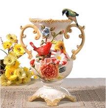 ceramic cerative lucky bird lovers flowers vase pot home decor crafts room weeding decorations handicraft porcelain figurines