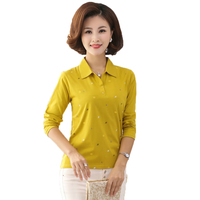 Woman Casual Cotton T shirt Small Pattern Tops Purple Yellow Black Gray Tshirts Women Leisure Comfort Top Mother Clothings 40S