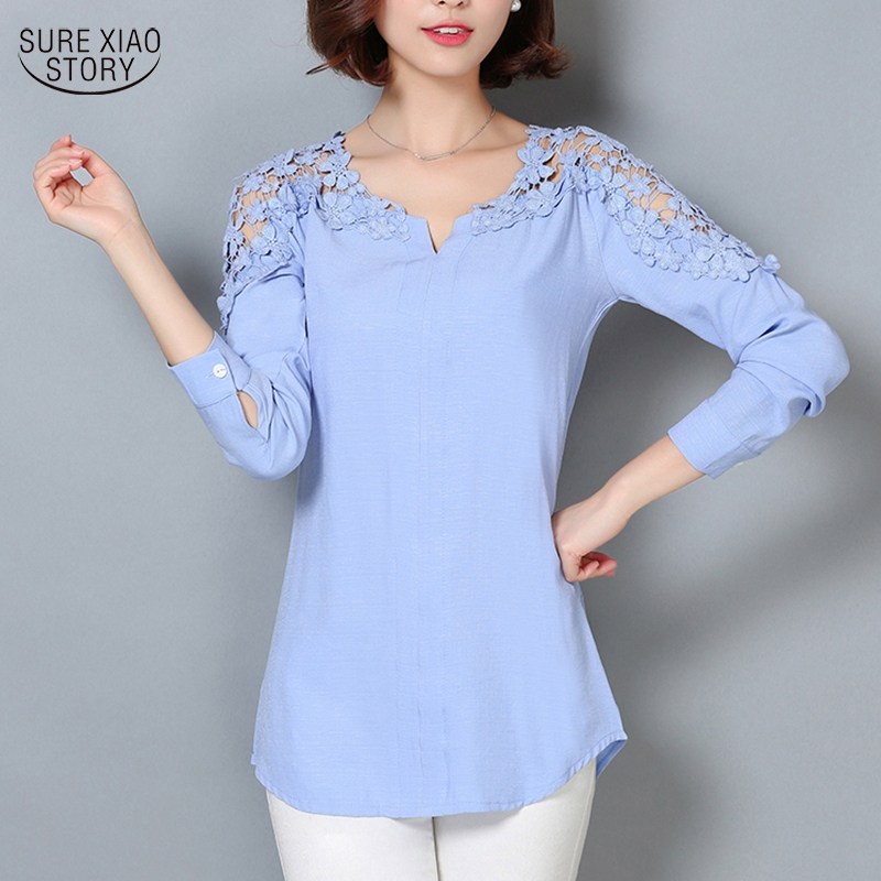 2018 Lace Sleeve   Blouse     Shirt   Women V-Neck Floral Lace Sexy Casual Linen   Shirts   Plus Size Lady   Shirt   Camisas Femininas 185B 25