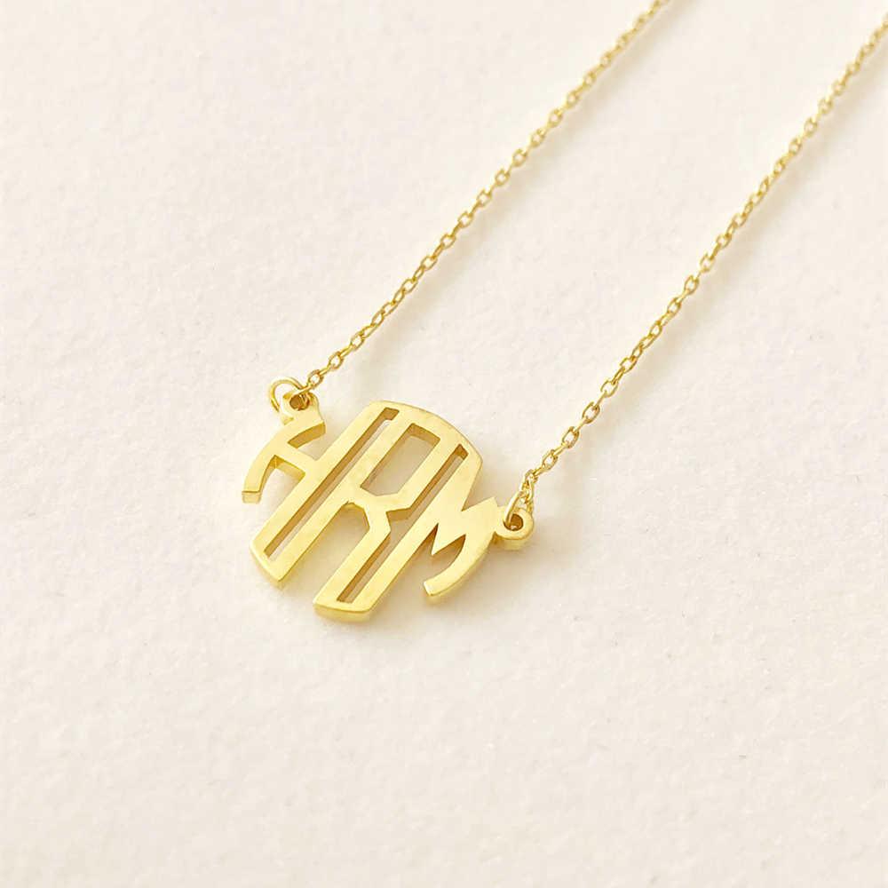 Dainty niestandardowy blok Monogram inicjały naszyjnik spersonalizowana nazwa biżuteria różowe złoto okrągłe litery obroża naszyjnik prezenty ślubne