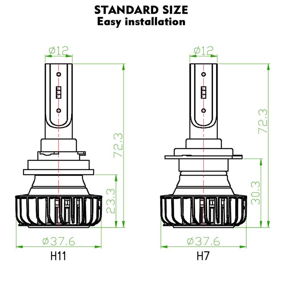 CNSUNNYLIGHT H7 LED H4 H11 H1 9005 with Philips ZES Chips 9900LM 72W pair Car Headlight Bulb 9006 H8 Fog Lamp Headlamp 12V 24V (19)