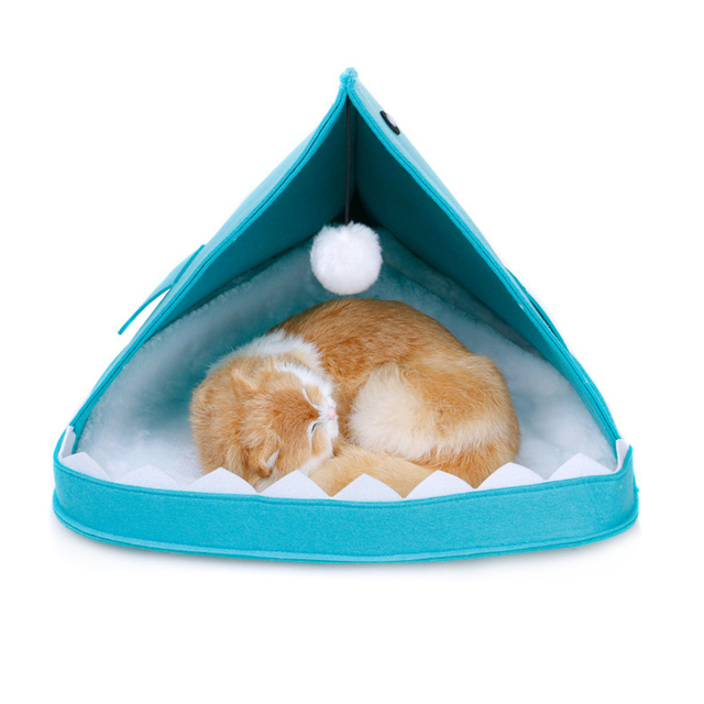 Creative Cute Pet Bed Blue Gray Shark Shape Dog Cage With Hanging Hairball All Season Breathable Cat House Pet Sleeping Supplies 3