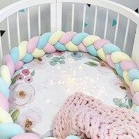 Baby Bumper Plush Knot Newborn Bed Bumper Braided Knotted Crib Braid Pillow Cushion Crib Bumper Cot Protector Baby Room Decor