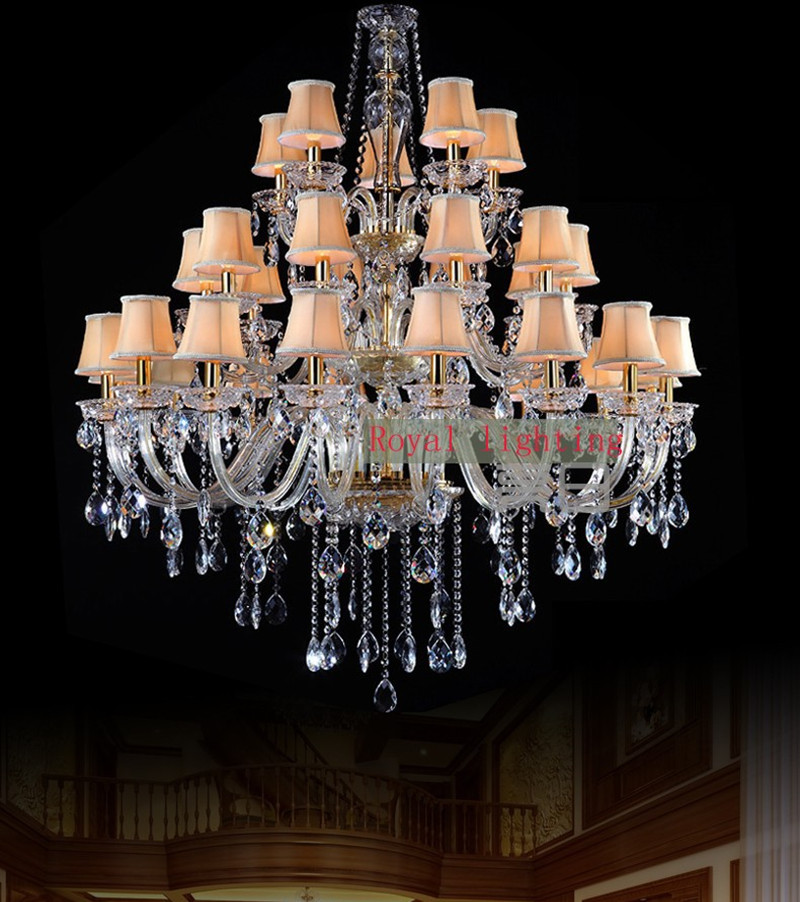 Modern living room large crystal chandelier led lamps 3-layer 30 pcs led traditional chandelier light hotel villa project lamps french villa crystal lamps living room chandelier bedroom lamps restaurant lamps alloy continental pendant glass zinc alloy led