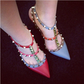 2016 Hot Fashion Women Shoes Pumps Spell Color Pointed Toe High Heels Buckle Studded Stiletto Heel Sandals Shoes Plus Size
