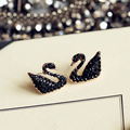 Fashion Sweet Cute Black Swan Earrings Cubic Zircon Stud Earrings Girl Rose gold plated Women Jewelry