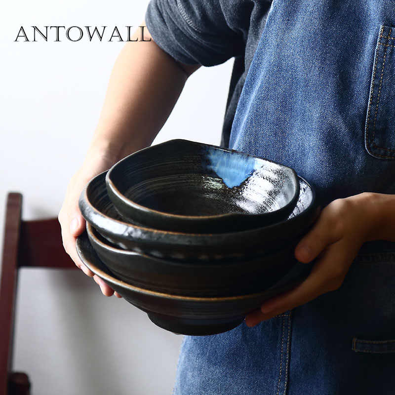 ANTOWALL Japanse stijl grote keramische servies ramen soepkom huishoudelijke vierkante kom onder glazuur porselein servies