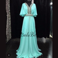 Modabelle 2019 бирюзовое вечернее платье с рукавами кафтан Marocain Половина рукава плюс размеры вечерние платья халат Soiree Дубай