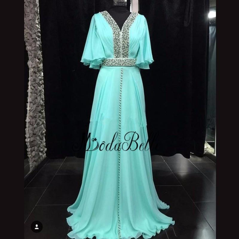 modabelle 2019 Turquoise   Evening     Dress   With Sleeves Caftan Marocain Half Sleeves Plus Size Formal   Dresses   Robe Soiree Dubai