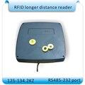 Leitor de RFID/longa distância ISO11784/11785 RFID tag leitor de 10-80 CM 125-134.2 KHZ freqüência porta + 10 pcs cartões RS232-485