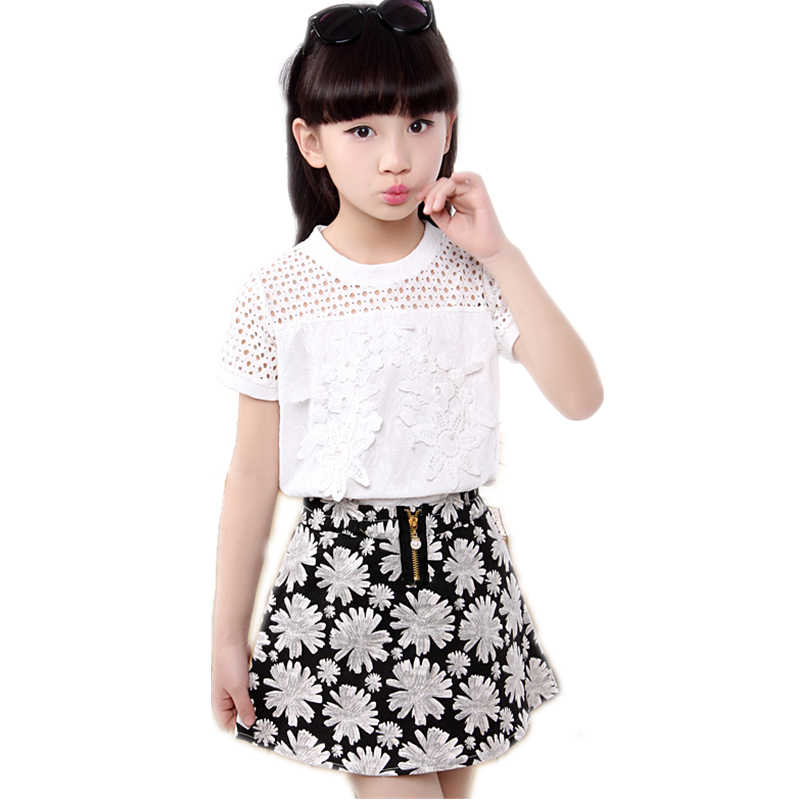 b24d8bc7a Girls SunFlower TShirt Skirt Clothes Set With Pearl Floral Top Skirt 2PCS  Clothing Set For Teens