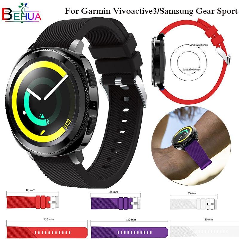 все цены на 20MM Silicone Watchband For Amazift Bip Strap for Garmin 645 Vivoactive 3 Wrist Band Strap For Samsung Gear S2 Sport watch Strap онлайн