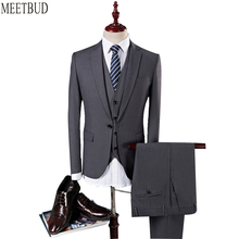 MEETBUD Brand men suit for wedding business casual slim fit party blue gray wine red black