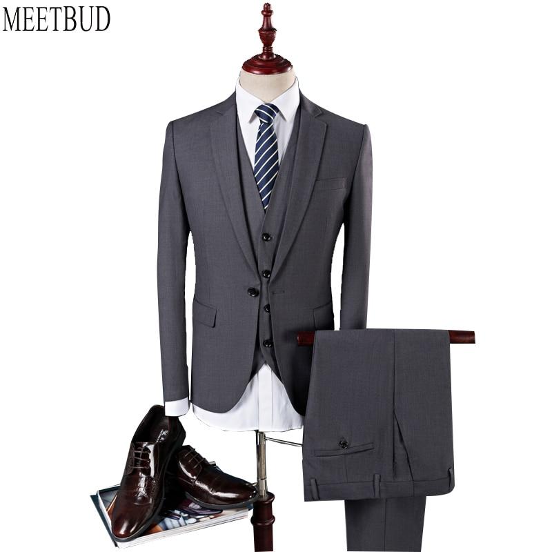 Meetbud бренд мужской костюм для свадьбы деловые повседневные стройная фигура вечерние синий серый красное вино черные мужские костюмы платье (куртка + Штаны + жилет)