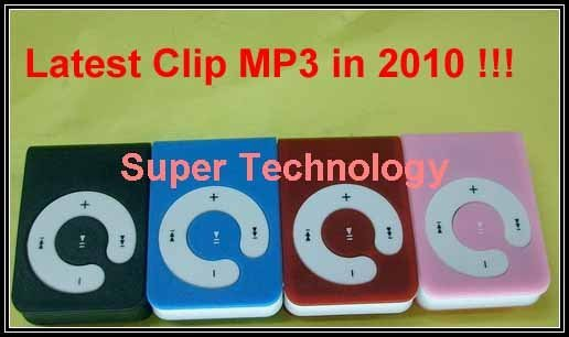 50pcs /lot !!!!100% new,Mini clip MP3 player,Slim MP3 for gift with cable and transparent box