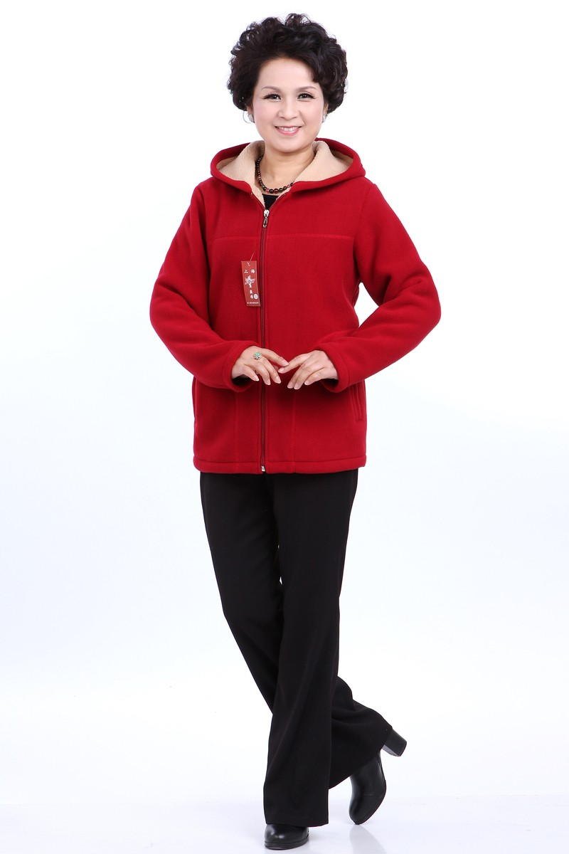 Winter Middle Aged Womens Hooded Imitation Lambs Fleece Jackets Ladies Warm Soft Velevt Coats Mother Overcoats Plus Size (8)