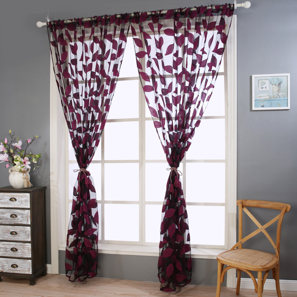 Bedroom valance curtains - 2pcs Aaa Leaf Tulle Door Window Curtain Drape Panel Sheer Scarf Valances Curtains For The Kitchen Bedroom Office Drapes Cortinas