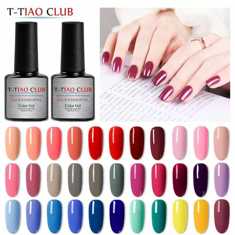 T-TIAO CLUB 7ml Pure Kleuren Gel Nagellak Nagels Losweken Manicure UV Gel Varnish DIY Nail Art Manicure lak Decoraties