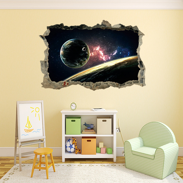 3D Space Scenery Wall Sticker