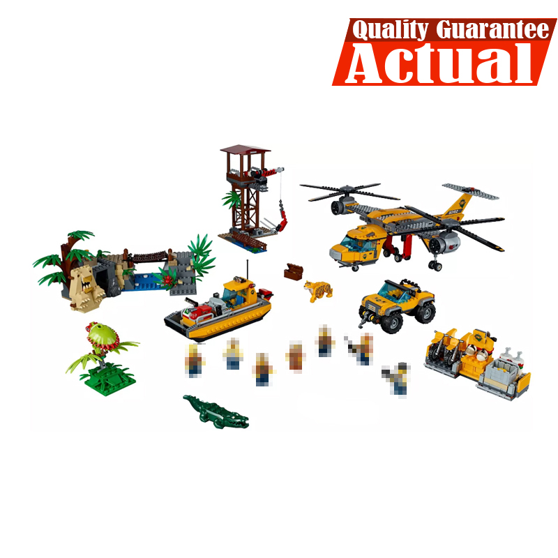 Lepin 02085 1400Pcs Genuine City Series The Jungle Air Drop Helicopter Set 60162 DIY Building Blocks Bricks Toys Model lepin 02064 404pcs city series jungle semi track car model building blocks bricks toys for children action figures